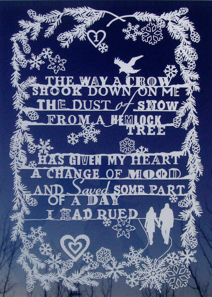 winter poem papercut illustration with snowflakes