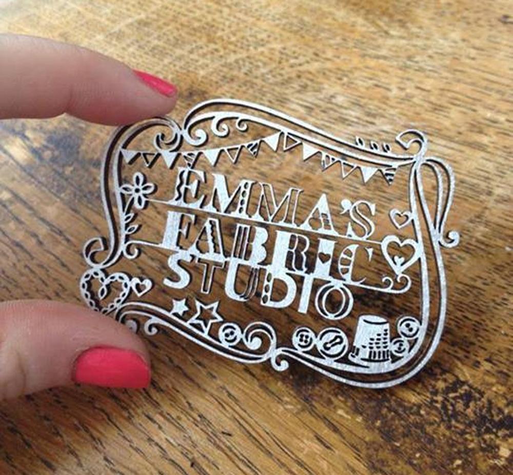 lasercut business card for emmas fabric studio
