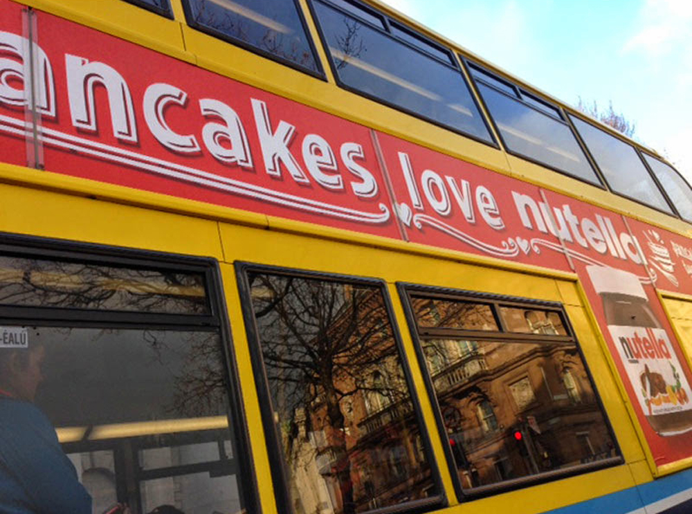 papercut illustration for nutella pancake day bus advert