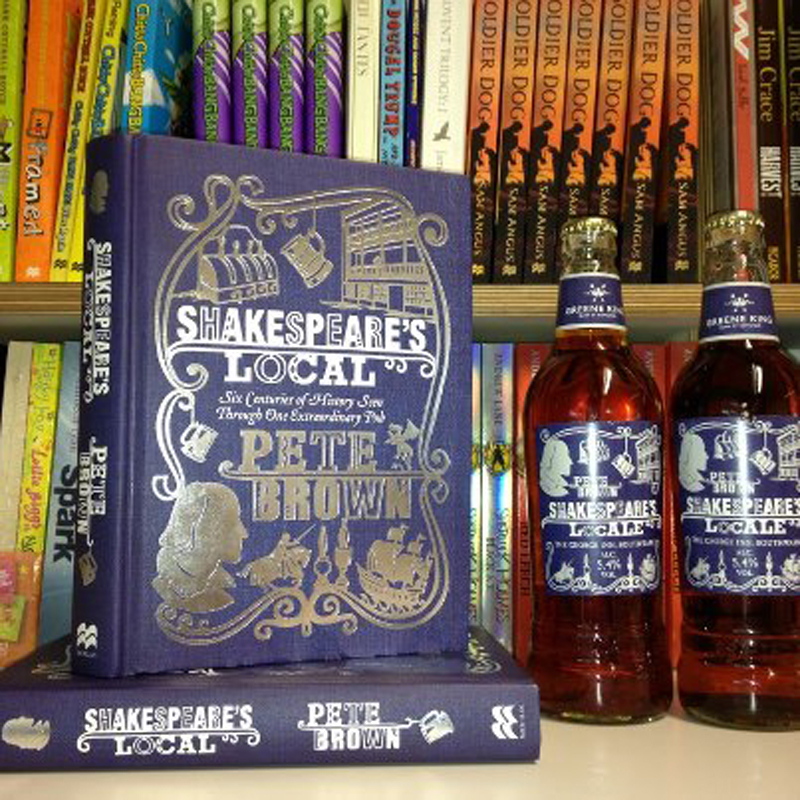 shakespeare's local book cover with promotional beer bottles