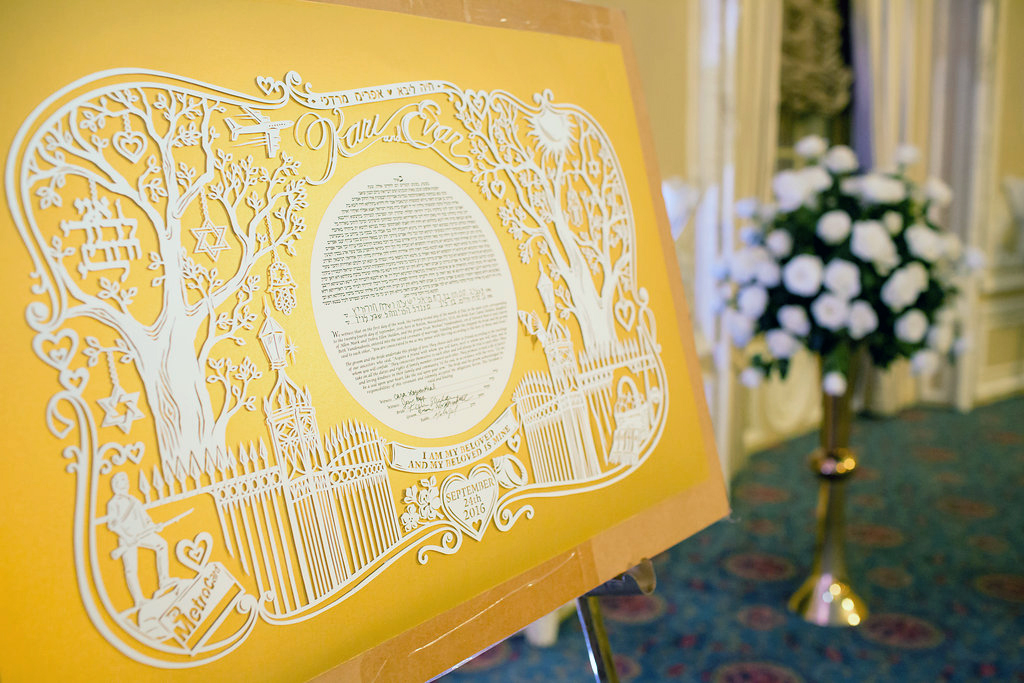 papercut-ketubah-gold-displayed