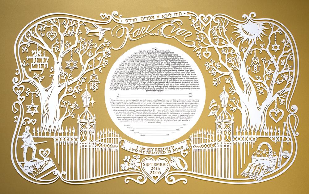 papercut-ketubah-gold-tree-modern