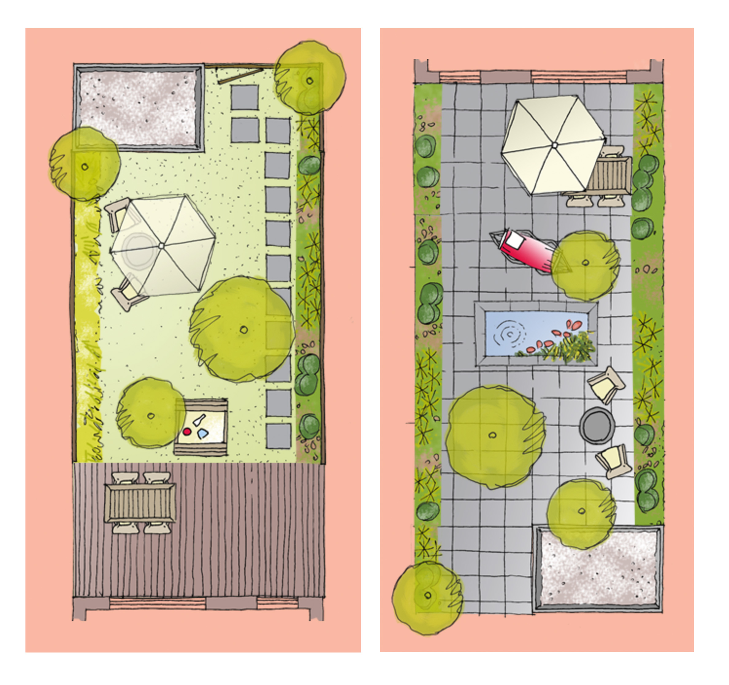 Twee voorbeelden van een digitale plattegrond (ontwerp door sevencouches)