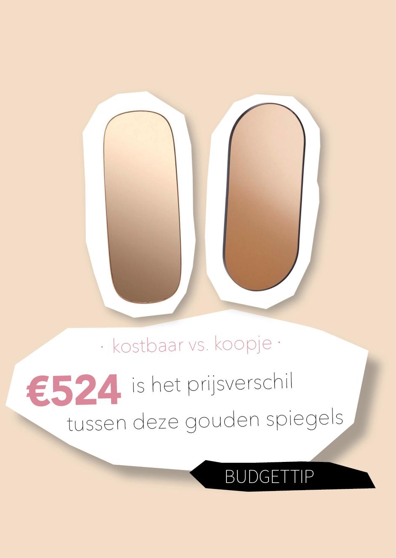 Kostbaar vs. koopje: bespaar €500 op je goudkleurige spiegel