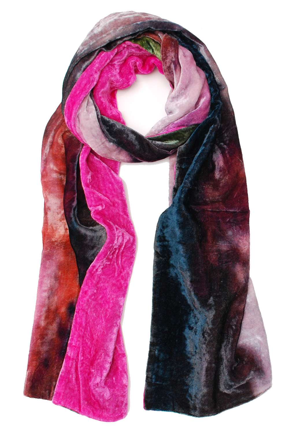 VELVET CRUSH     INSPIRED BY THE VERY FIRST PIECE FROM ELIZABETH GILLETT's inaugural collection - our gaia velvet oblong is made from exclusive watercolor artwork. Wonderfully soft and luxe its a sophisticated way to add color to a winter jacket.
