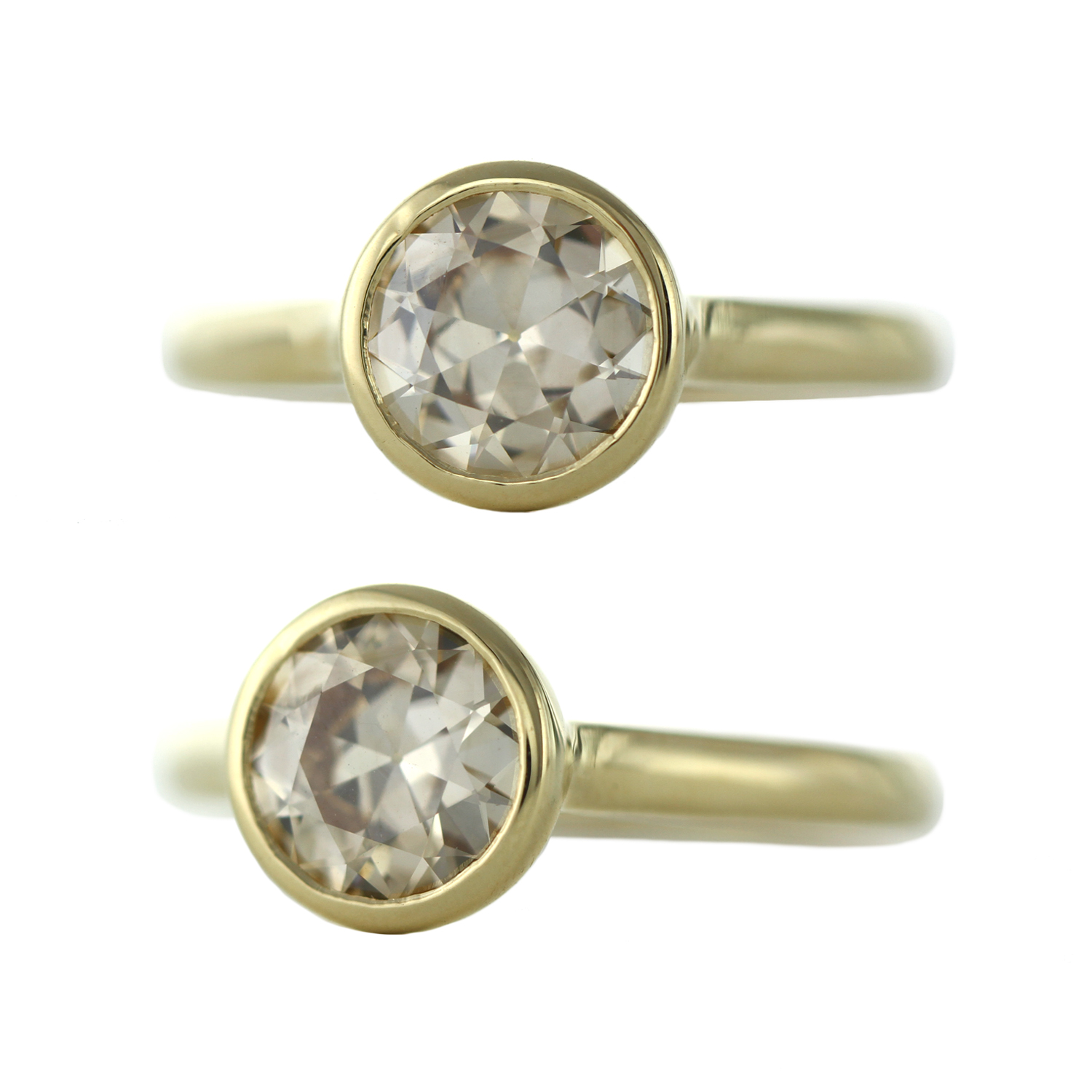 Ore Sophie Hughes Custom 18K Yellow Gold Bezel Solitaire with Champagne Diamond