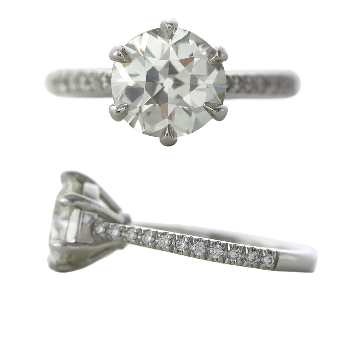 Ore Sophie Hughes Custom Platinum and Diamond Engagement Ring with Pave Diamond Band