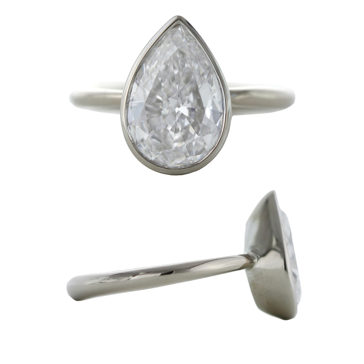 Ore Sophie Hughes Custom Grey Gold Tapered Bezel Set Pear Shape Diamond with Tapered Band