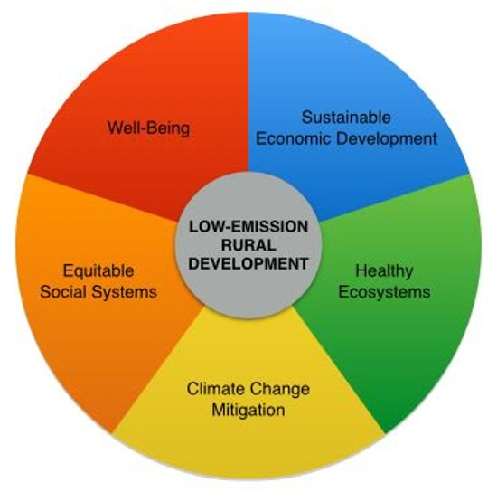 Five principal pillars define progress toward low-emission rural development.