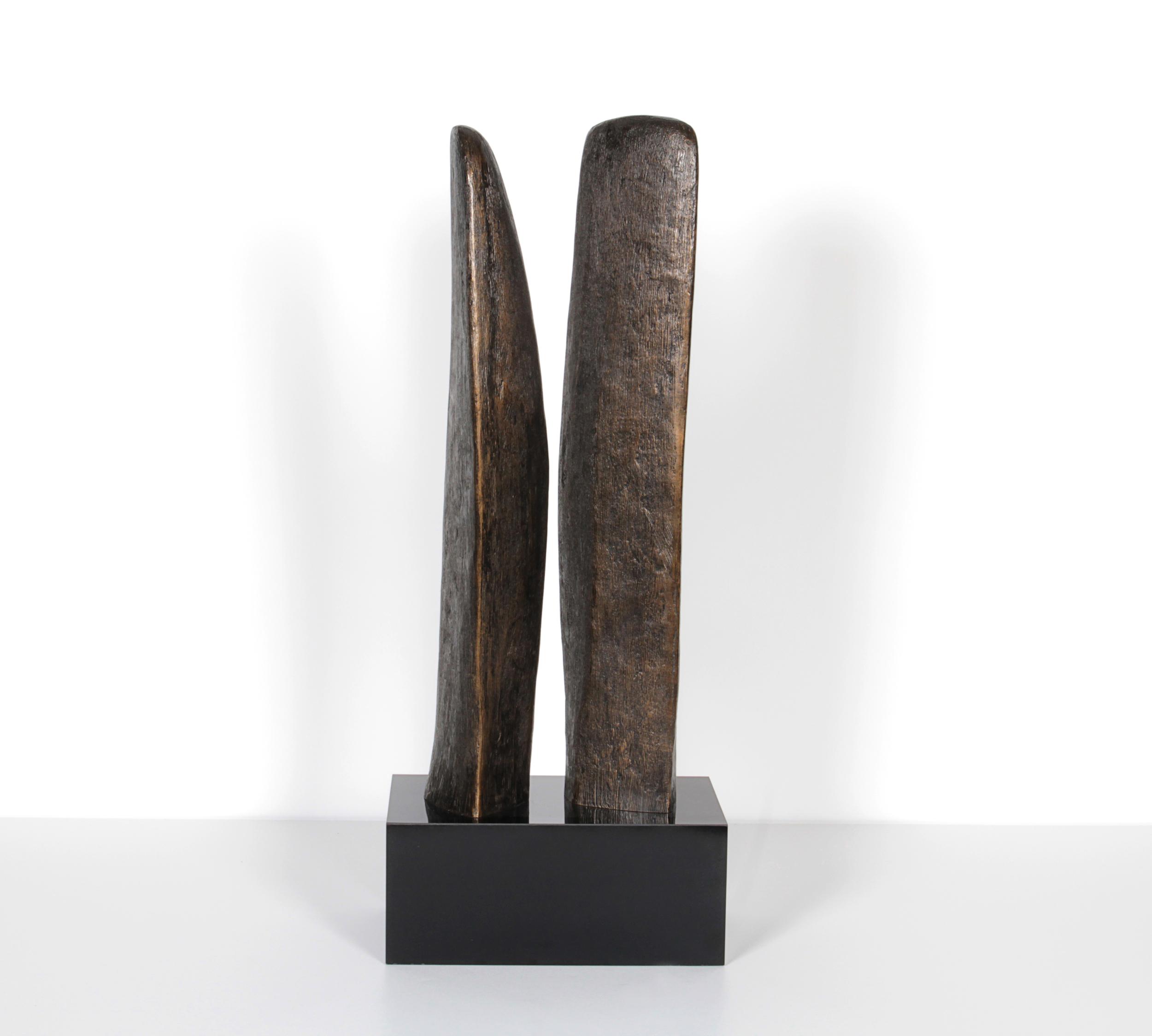 "Double Bronze Abstract Sculpture  20"" h. x 5"" d. x 8"" w.  $7,800"