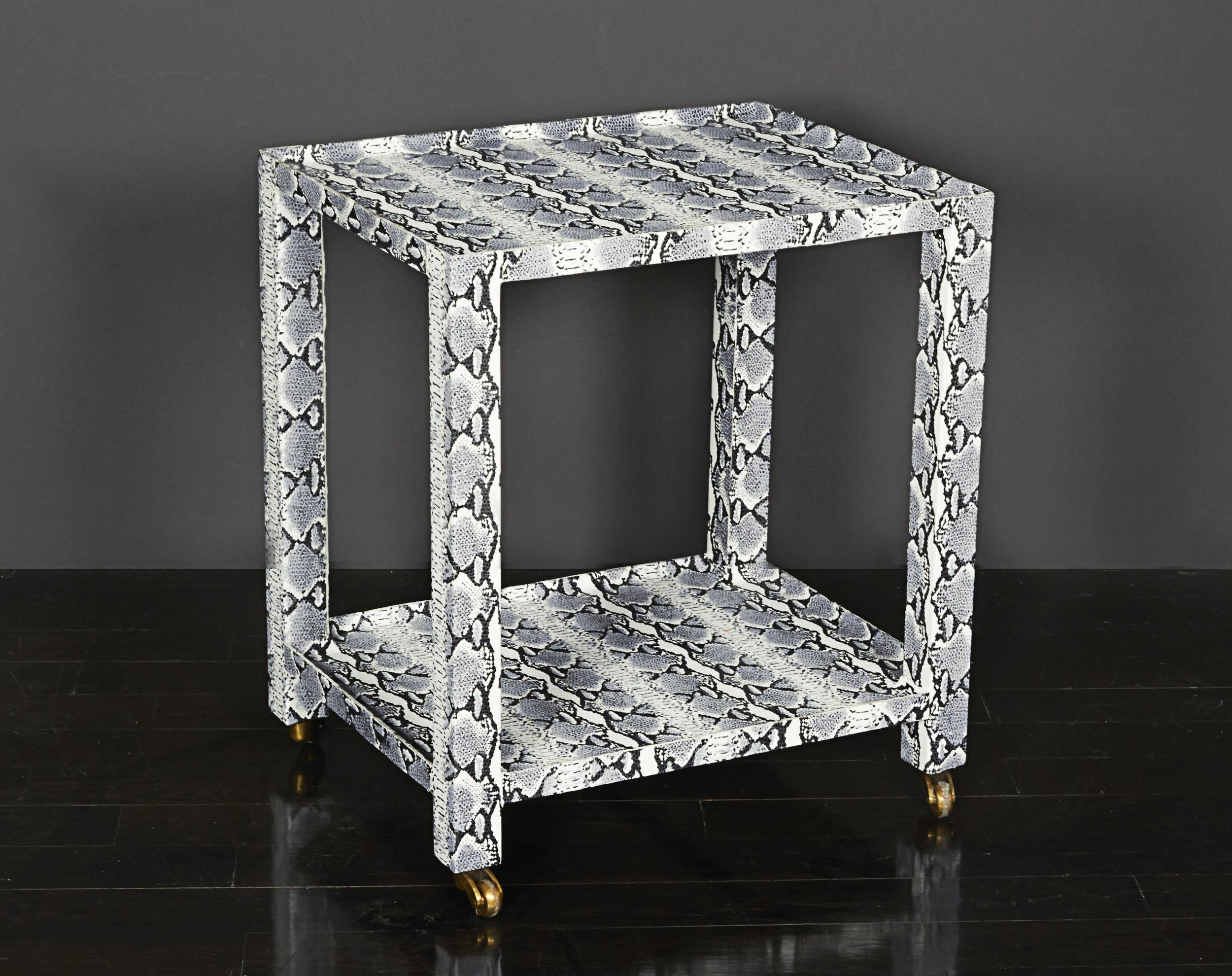 "Snakeskin Side Table  22"" h. x 19"" l. x 15"" w.  $3,600"