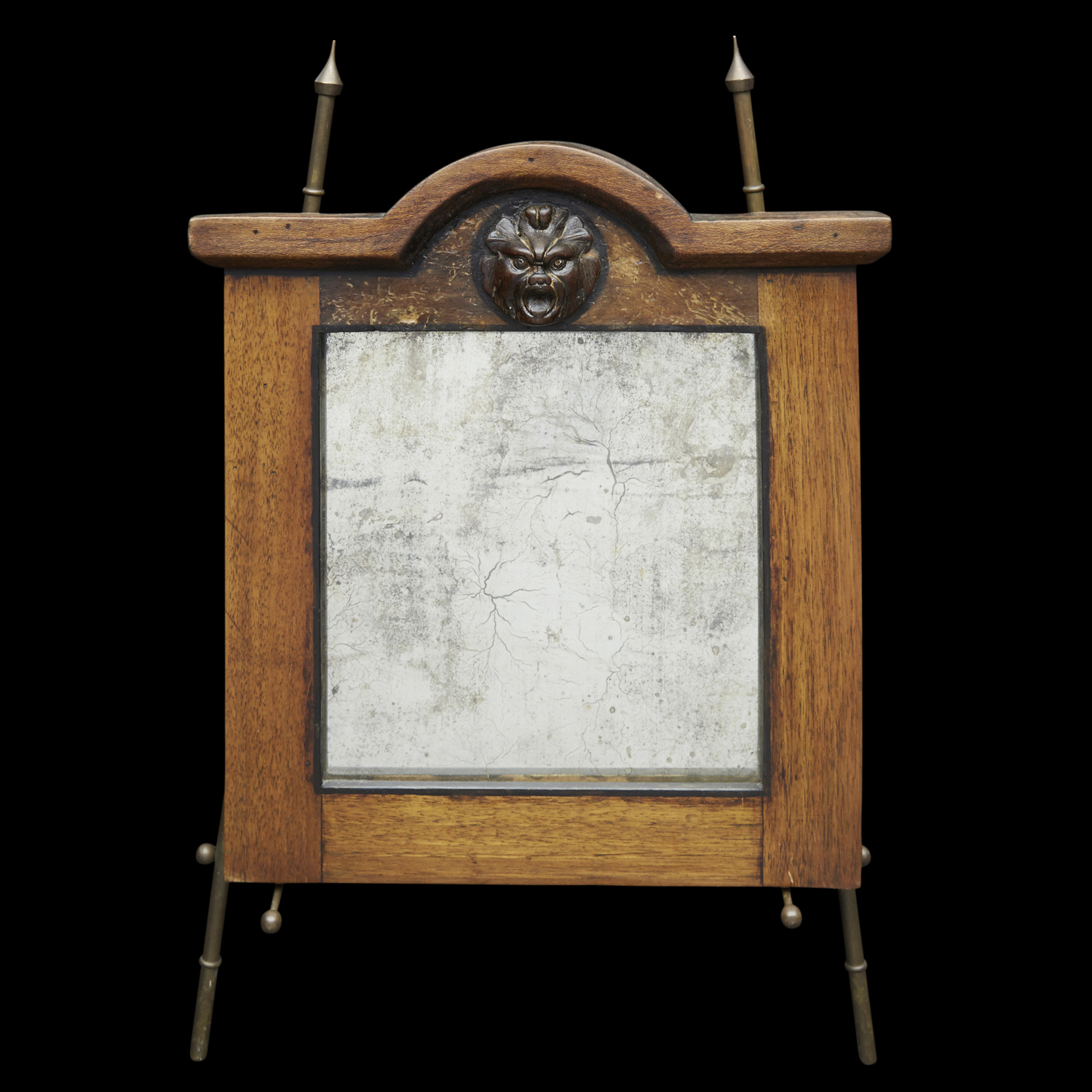 "18th Century Oak Mirror with Mask  13"" h. x 12"" w.  $6,400"