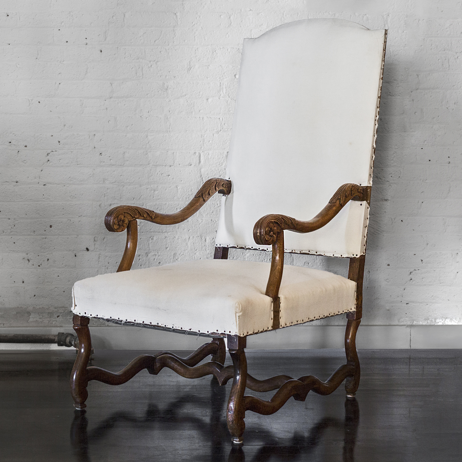 "19th Century French Arm Chair  50"" h. x 29"" d. x 26"" w. x 17"" seat  $5,400"