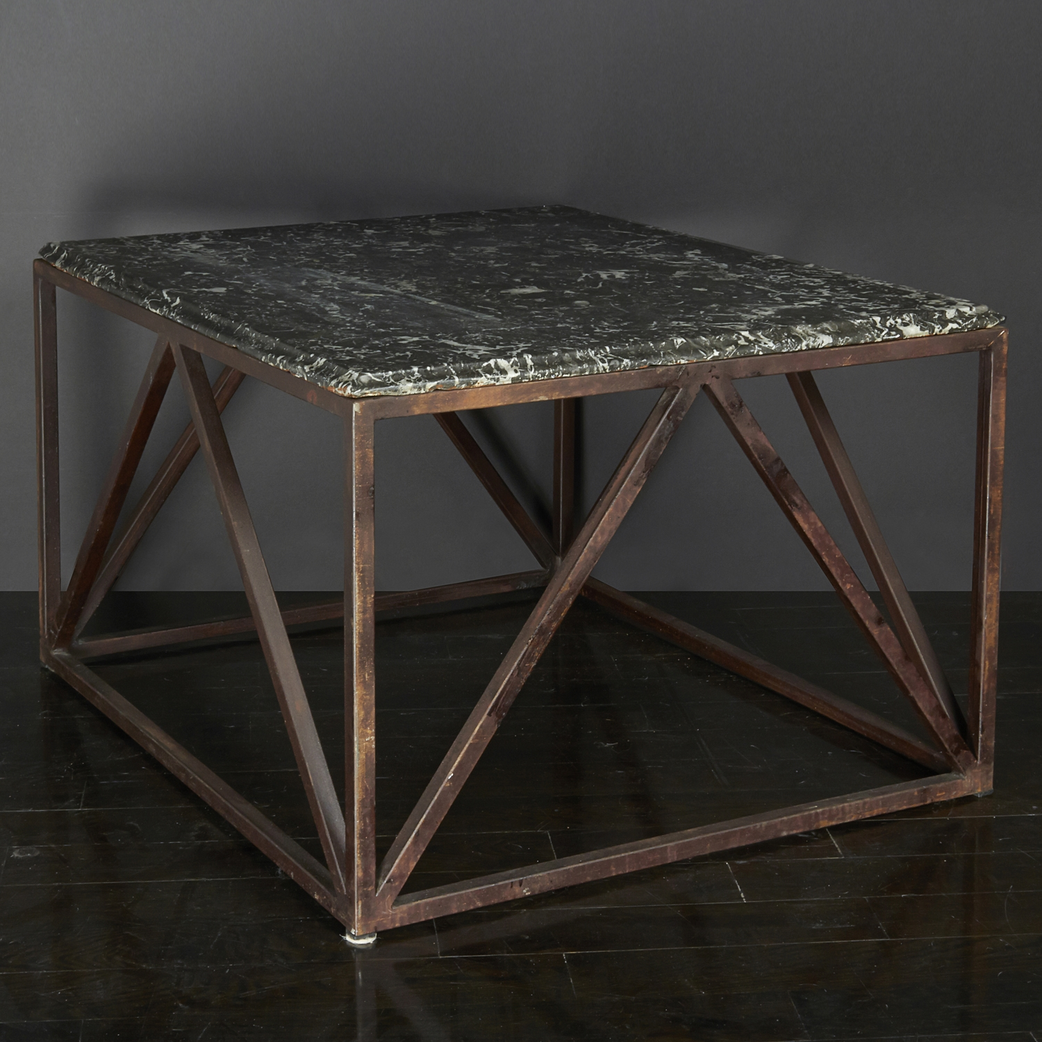 "Belgian Stone and Iron Table  32"" d. x 27"" w. x 19"" h.  $6,400"