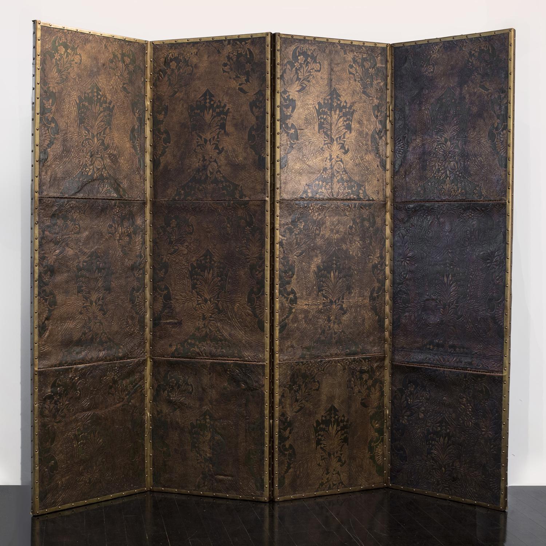 "18th Century Flemish Leather Screen  96"" w. x 84"" h. x 3"" d.  $28,000"