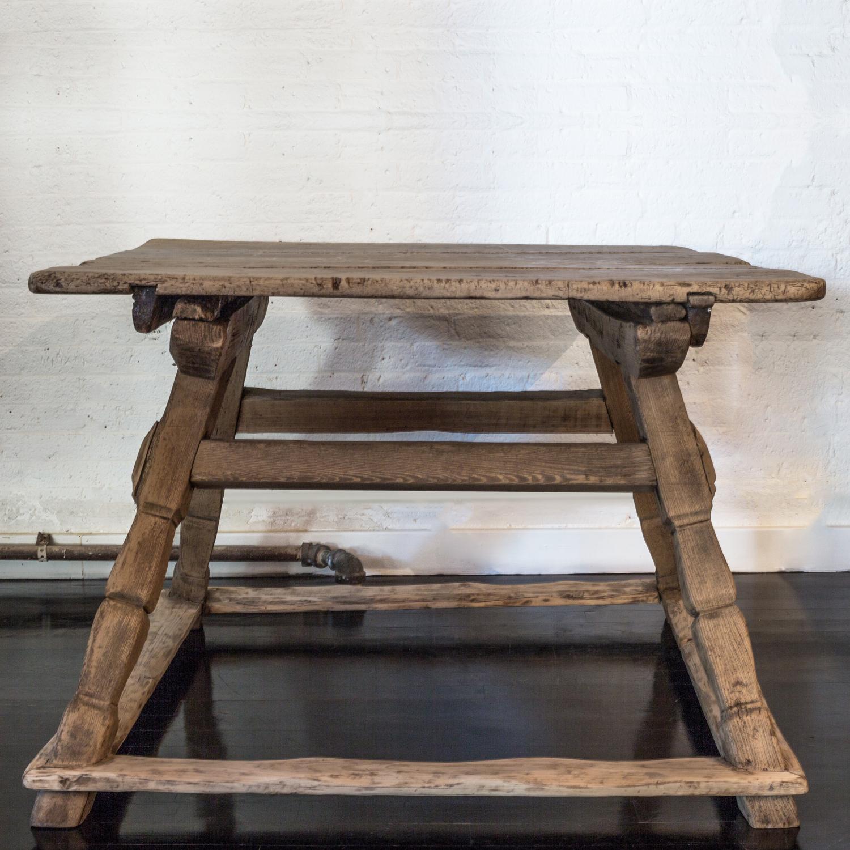 """French Oak Tresle Table  48"""" d. x 45"""" w. x 30"""" h.  $8,900"""