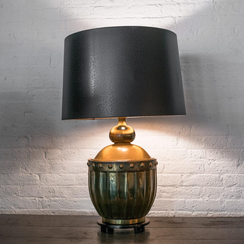 "Large brass lamp  34"" h. x 22"" dia.  $4,800"