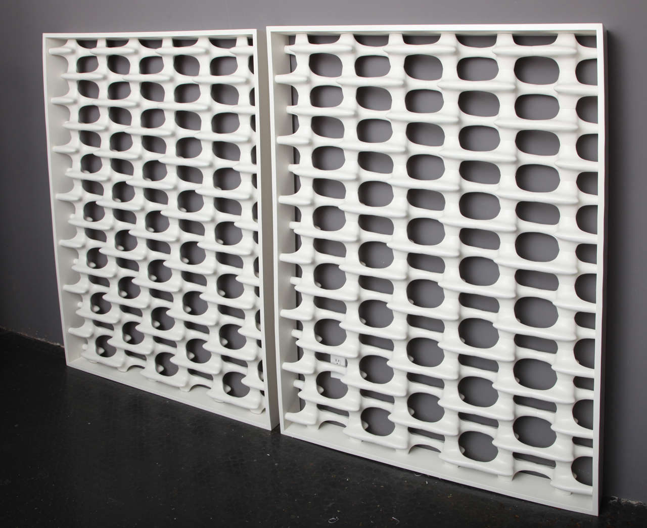"White BONES Screens  64"" h. x 64"" w. x 5.5"" d.  $10,000 ea."