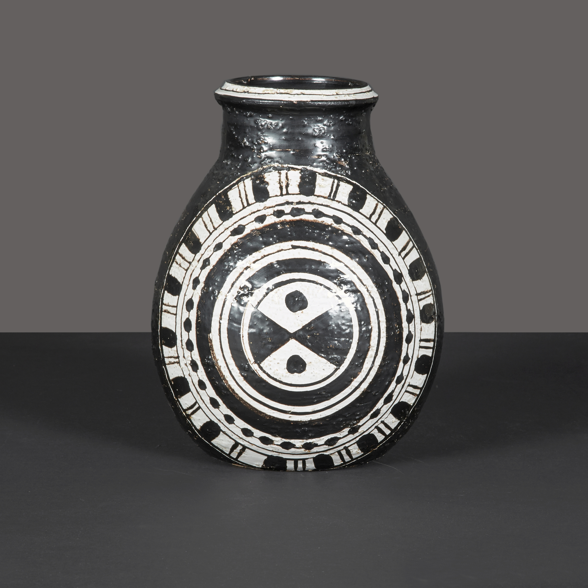 "Black and White Vase by Rosenthal  11"" h. x 9"" d.  $3,600"
