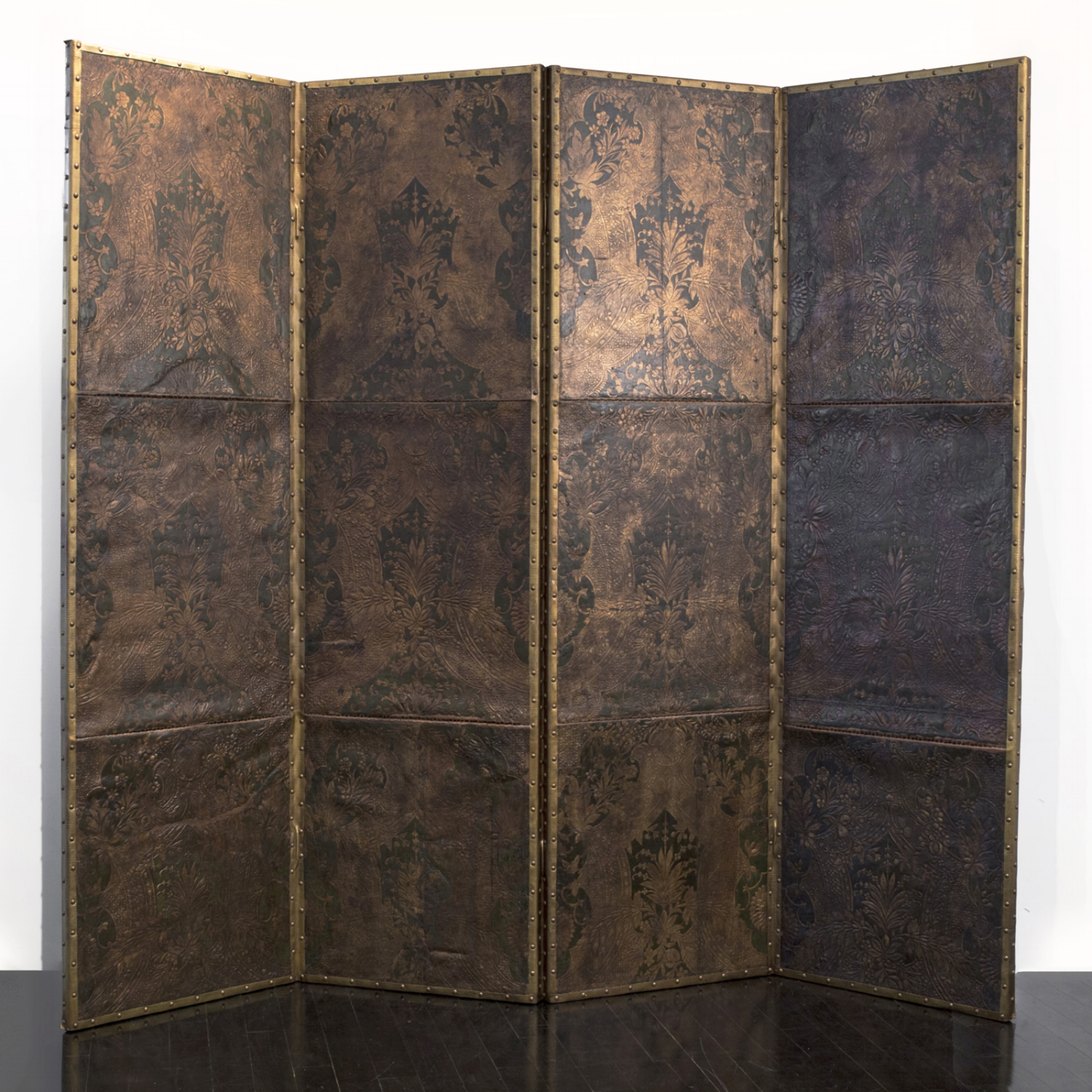 "18th Century Flemish Leather Screen  96"" w. x 84"" h. x 3"" d.  $28,000"