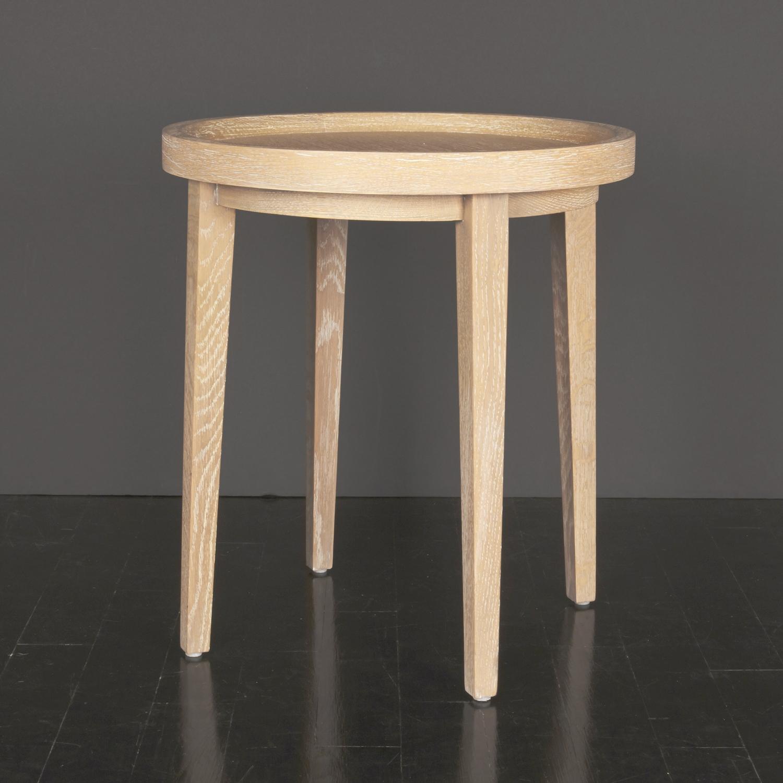 "Cerused Oak Side Table  22"" h. x 20"" d.  $2,950"