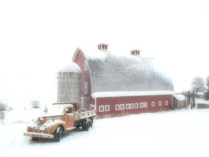 Old Truck Barn in Winter