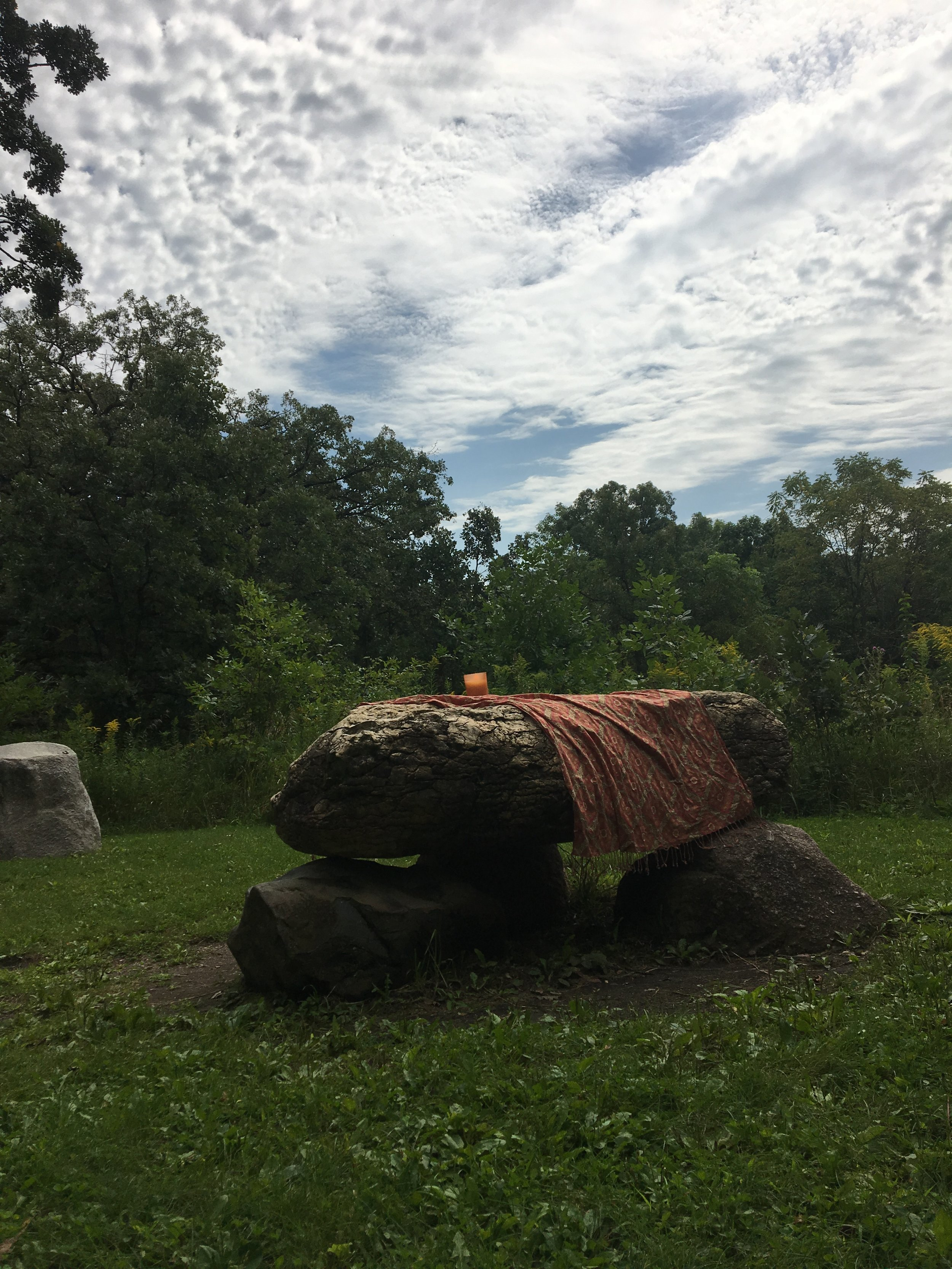 Viewing the eclipse from the Circle of Stones at Carleton College in Northfield, MN earlier today.