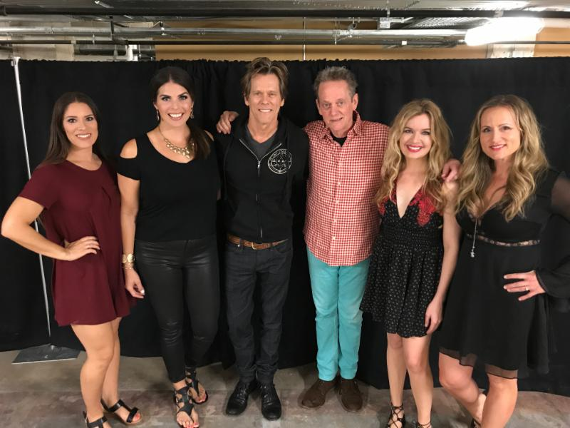 (l. to r.) Farewell Angelina's Lisa Torres and Lauren Lucas, Kevin Bacon, Michael Bacon, Farewell Angelina's Andrea Young and Nicole Witt at the Lyric Theatre in Birmingham.