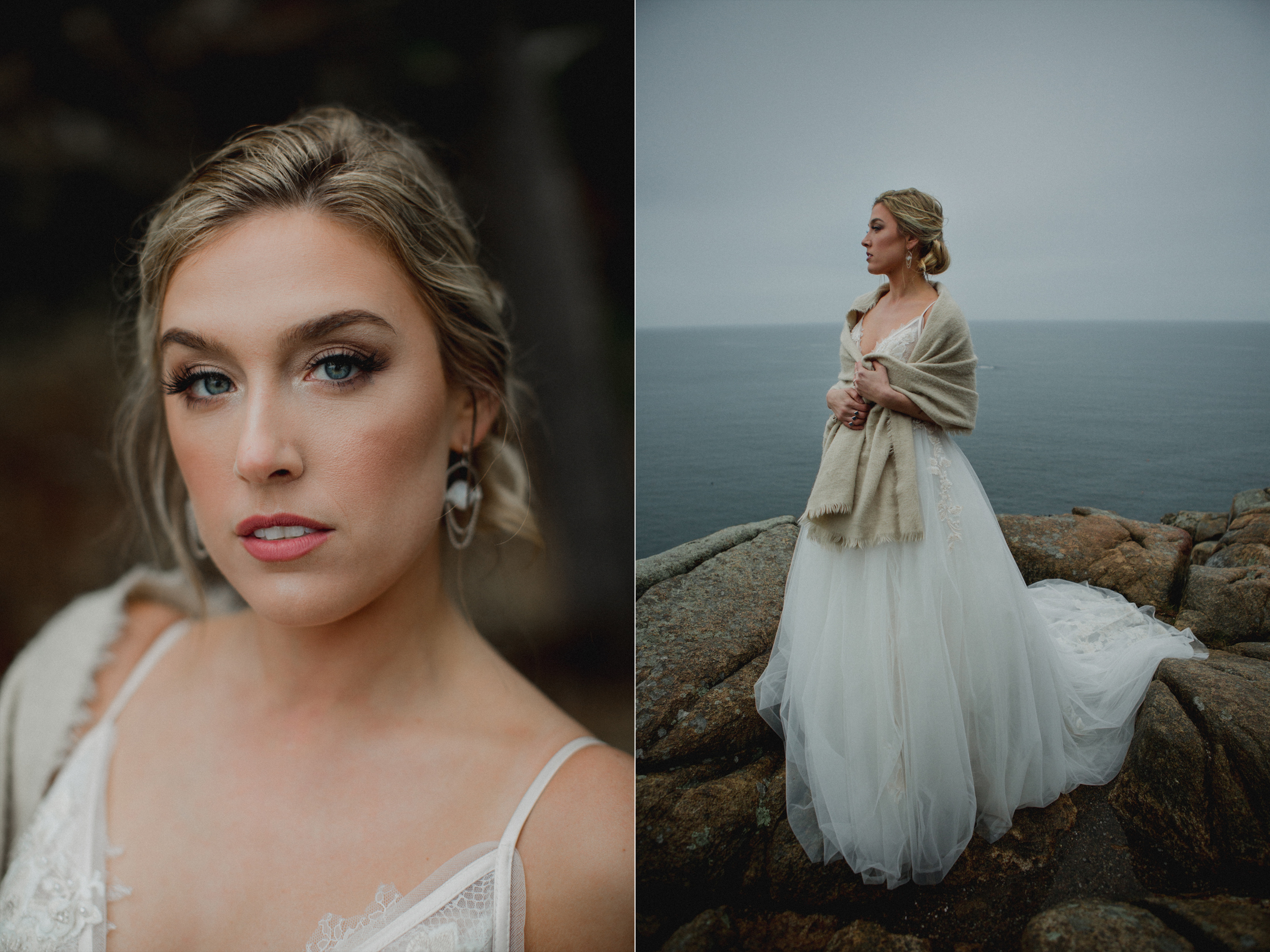 Rocky coast bride rainy day Acadia National Park wedding