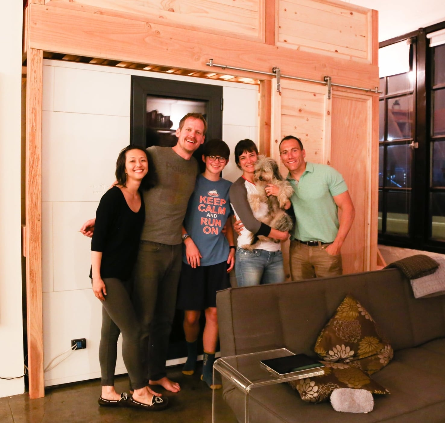 With Corey's sister and her husband after a triumphant sub-loft build. Go vertical!