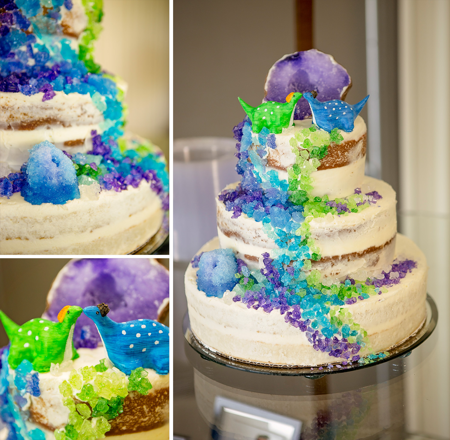 Geode wedding cake with dinosaur topper  at the Missouri Institute of Natural Science.