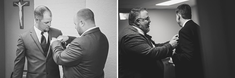 Groomsmen prep boutonnieres before the ceremony. Missouri and Arkansas Wedding Photography