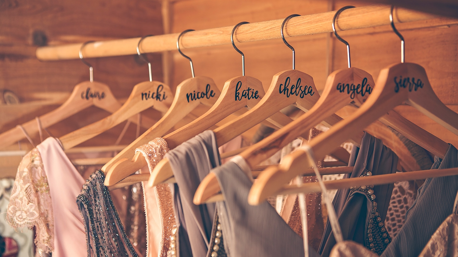 Personalized hangers for bridesmaids dresses