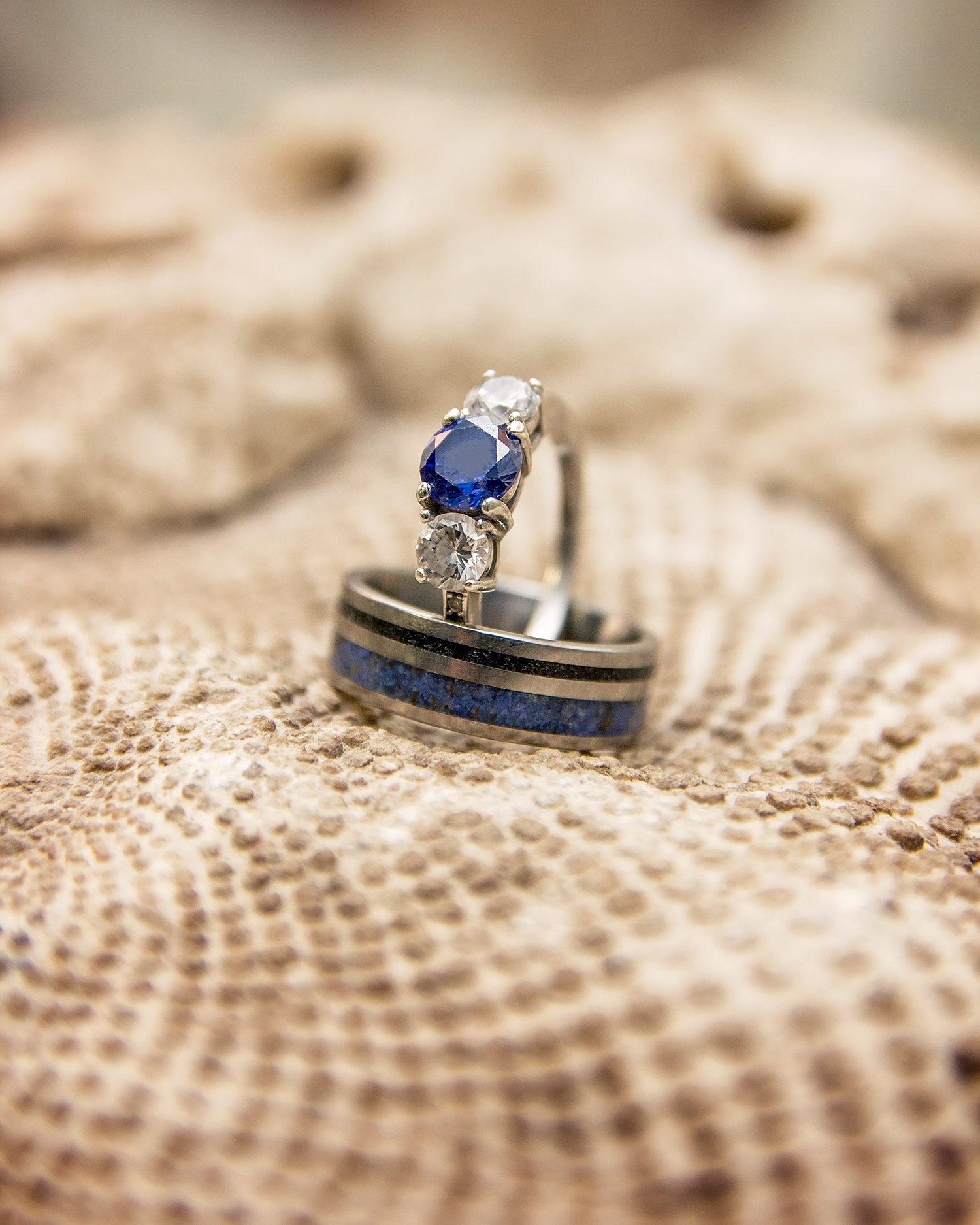 Fossil makes a great texture for displaying wedding rings - image captured during science-themed wedding at Missouri Institute of Natural Science, Springfield, Missouri