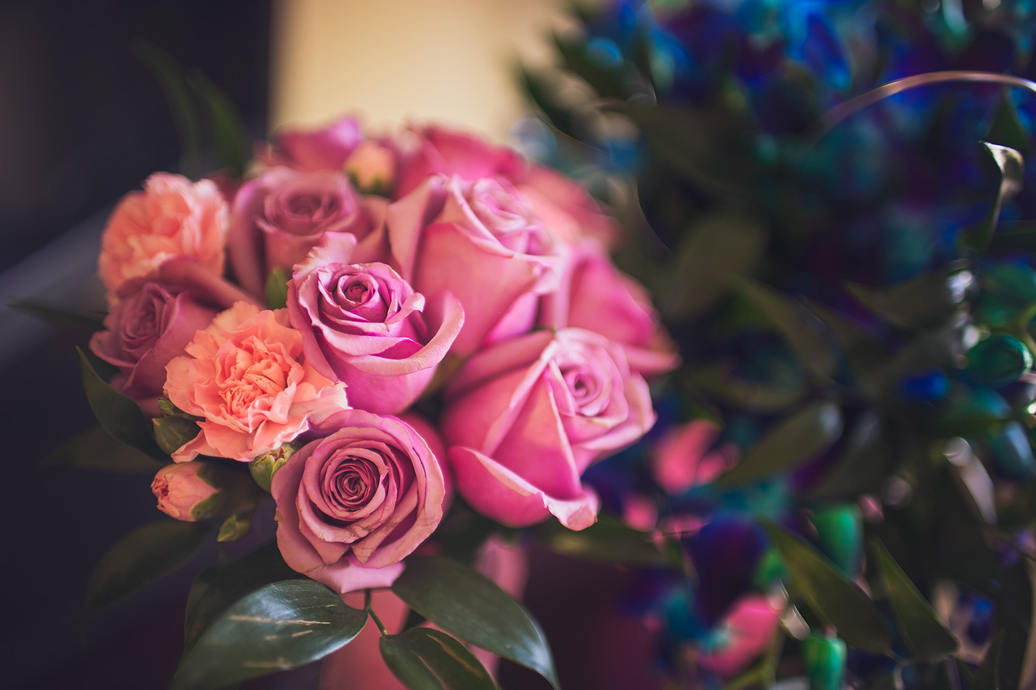 The Matron of Honor carried beautiful pink roses from Flowerama of Springfield.