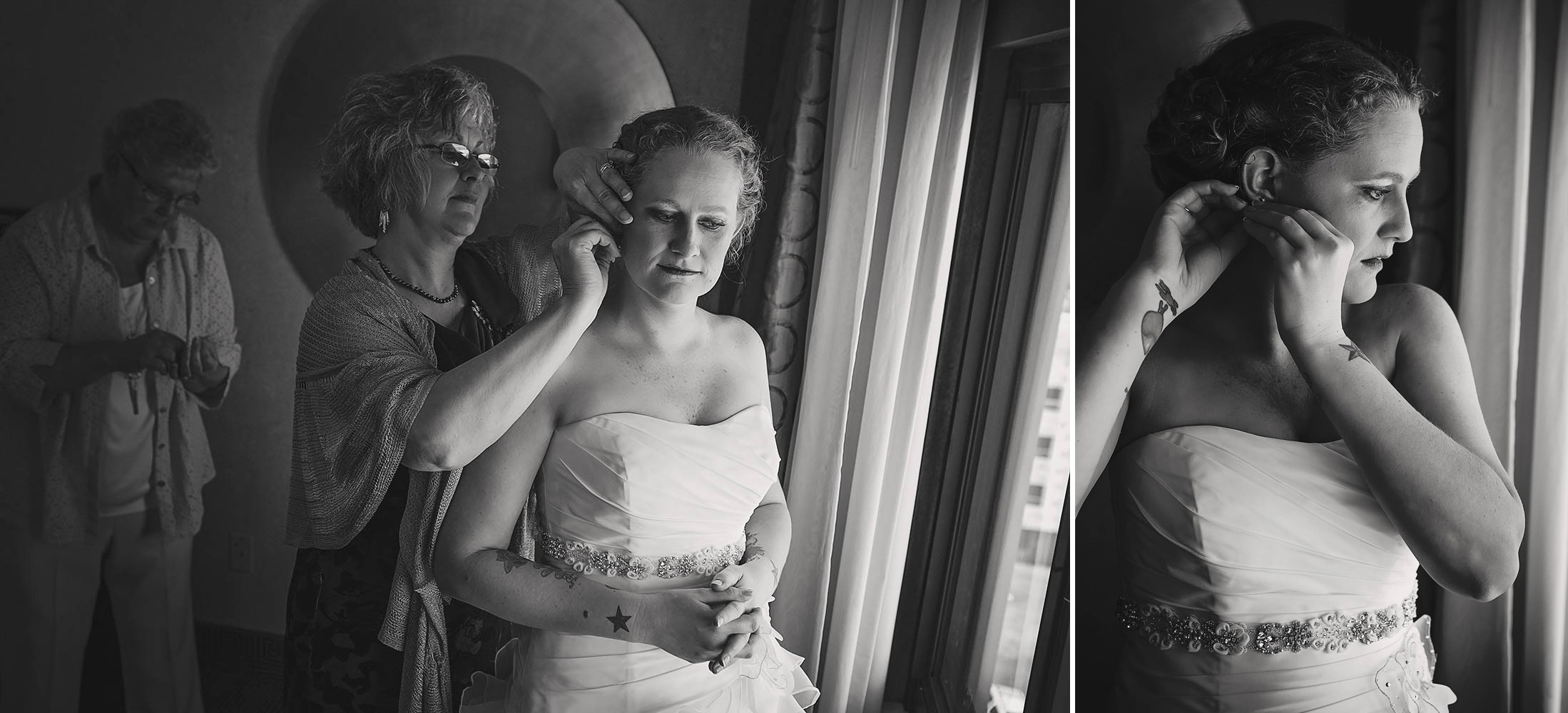 Nicole chose her to wear her late grandmother's earrings on her wedding day. Here, her aunt helps her put them in.