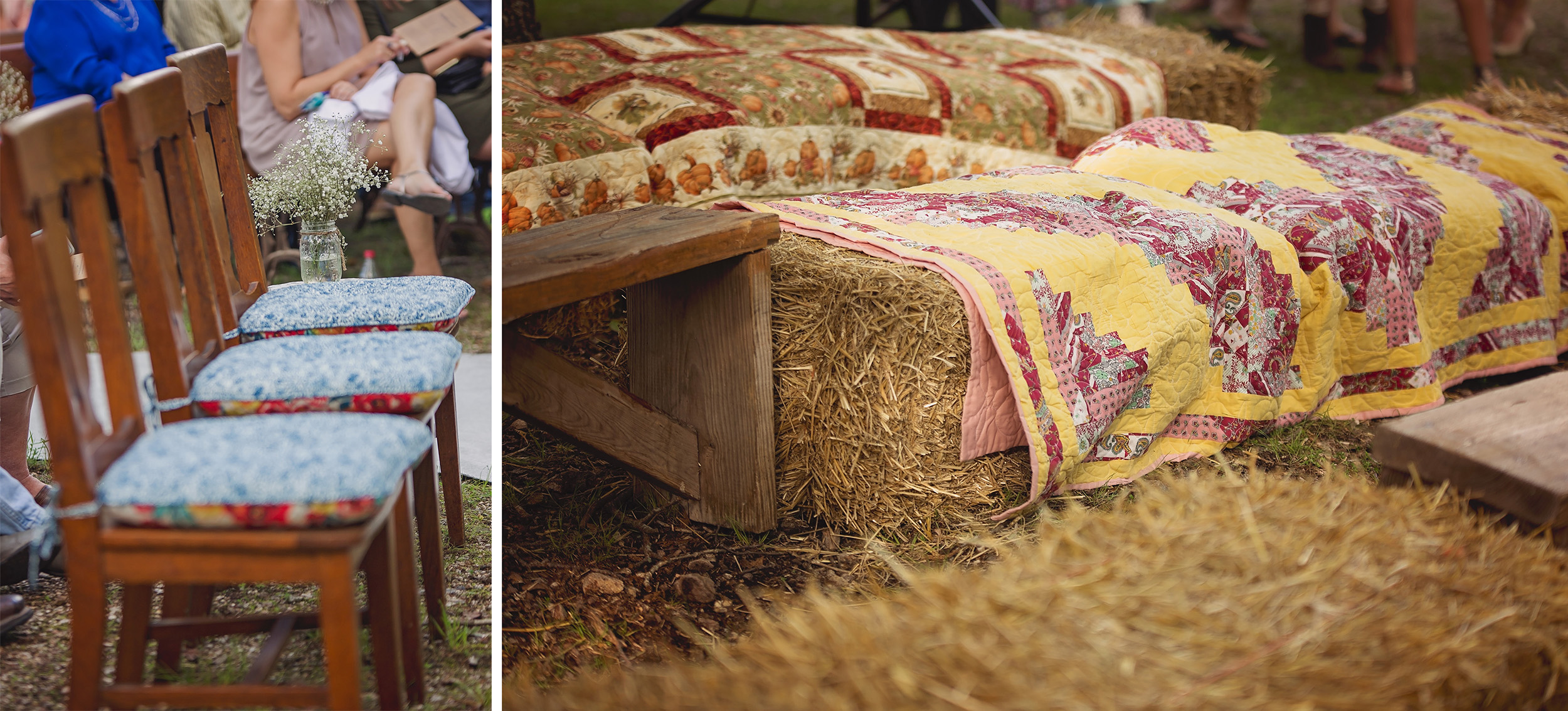 Quilts cover hay bails and dining chairs are re-purposed for wedding ceremony seating in the woods.