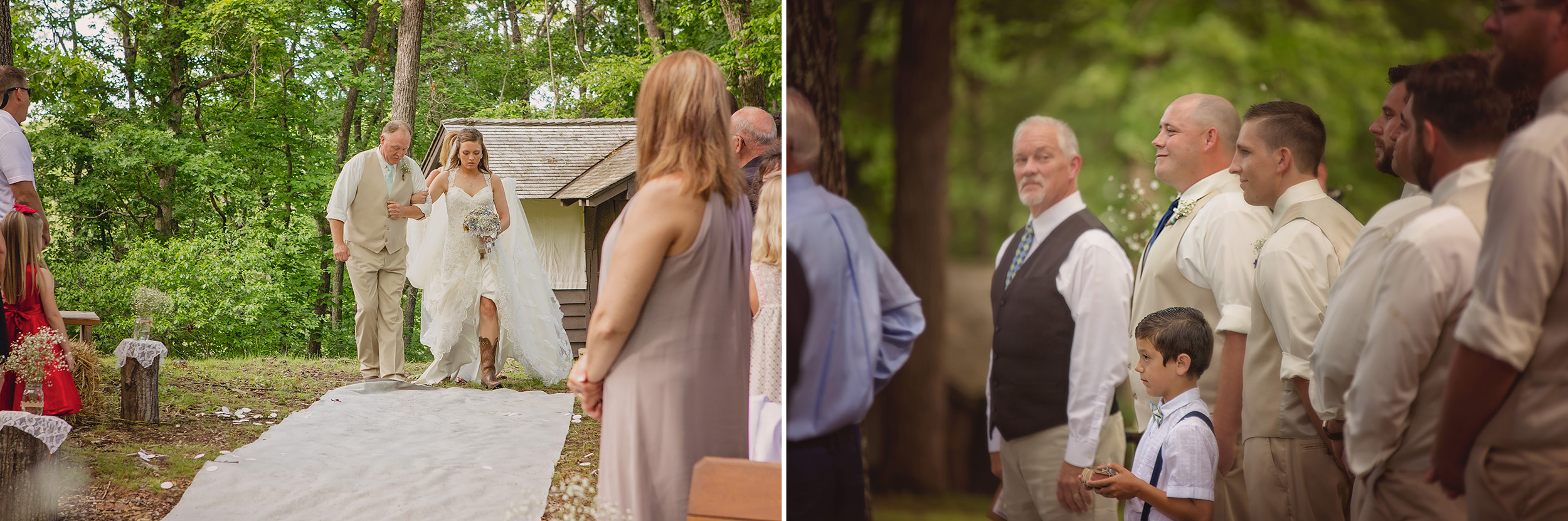 The moment Drew sees Aly for the first time on their wedding day.