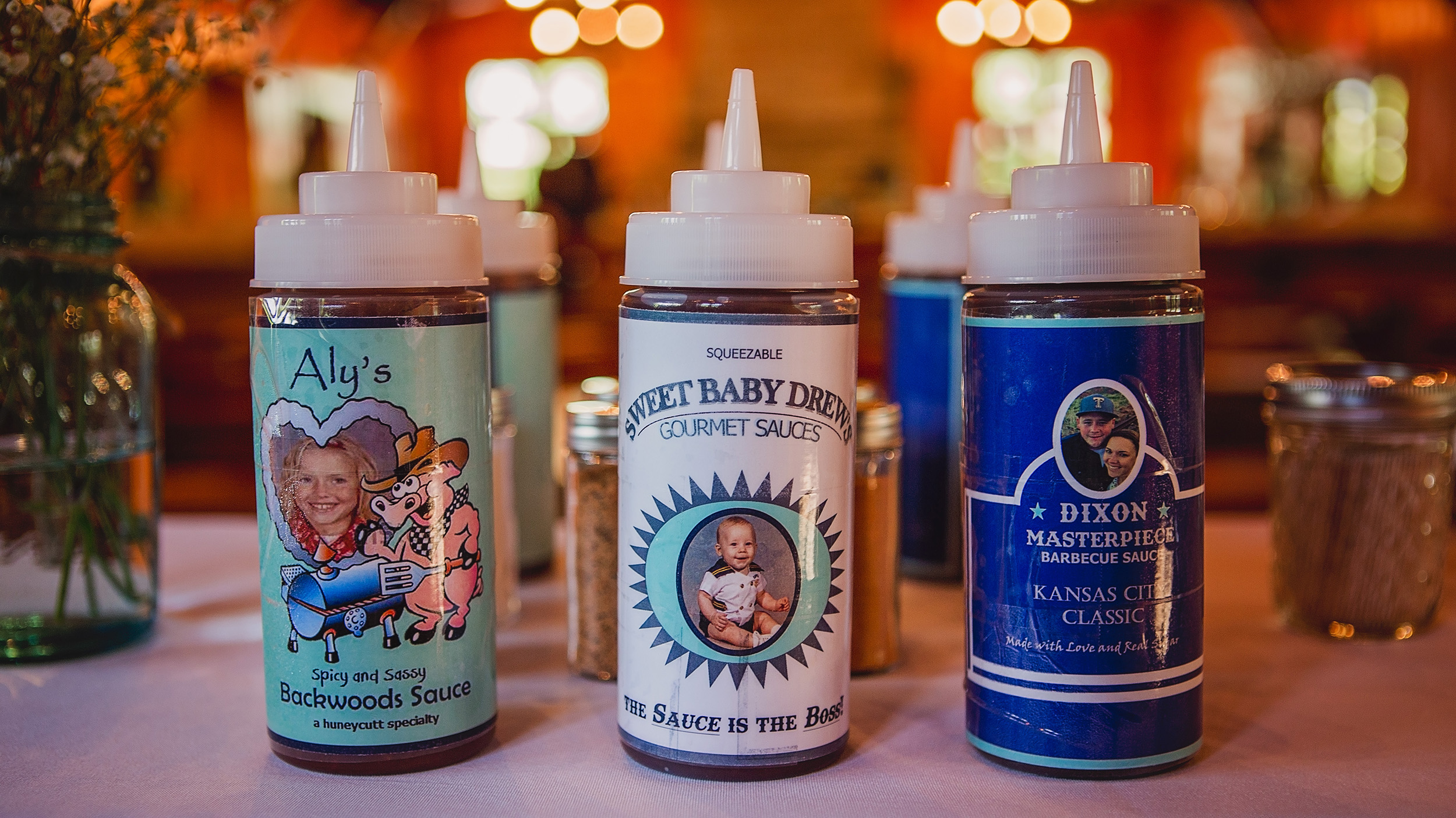 The battle of the BBQ sauces gets personal at this BBQ wedding reception.