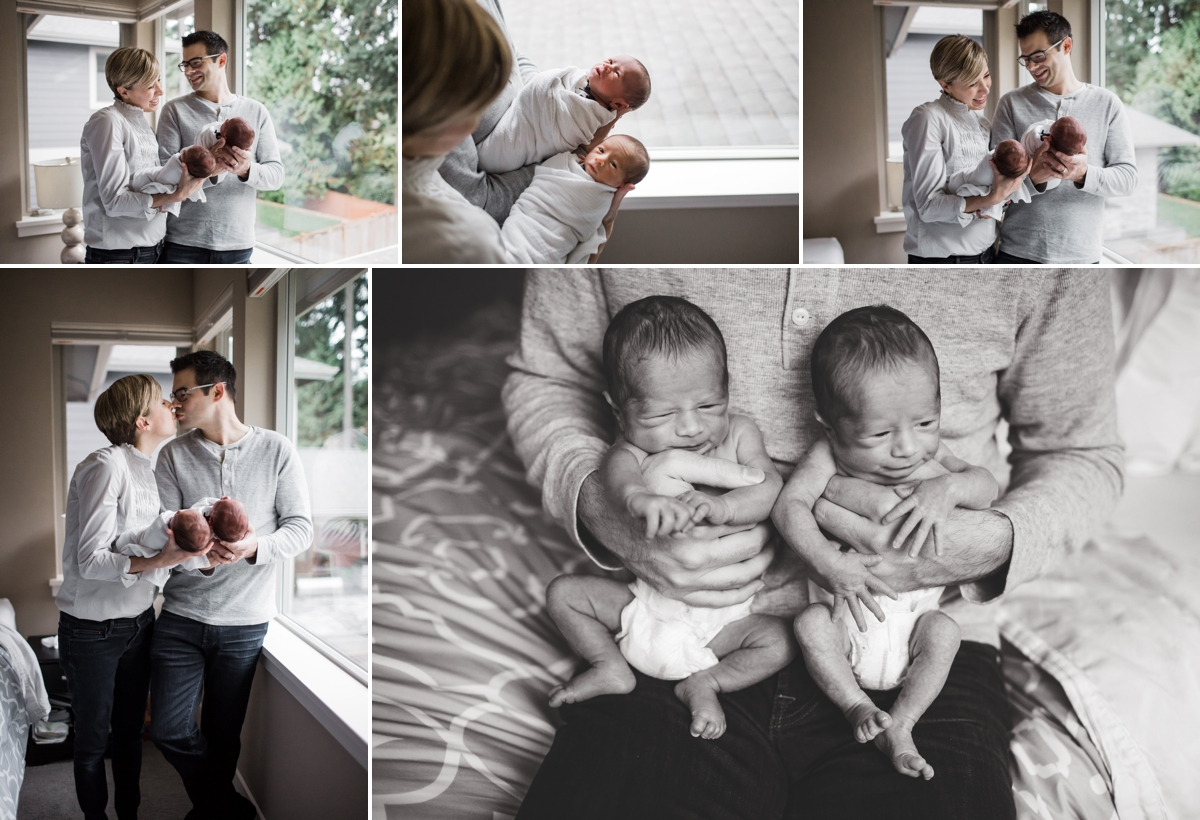 elena s blair seattle newborn photography | baby twin boys at home on location with family