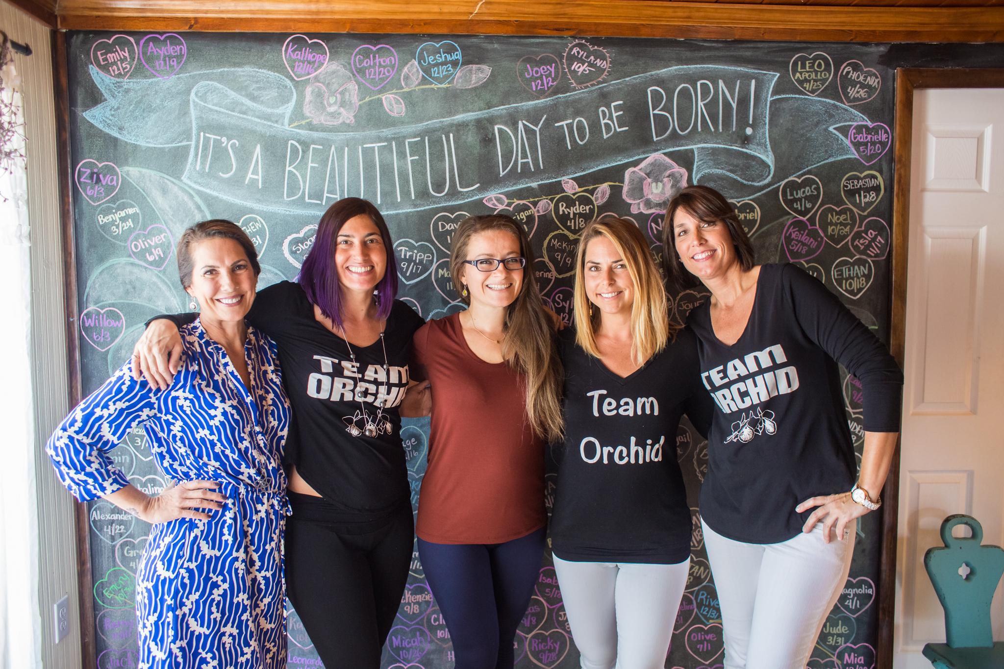 (left to right) doulas Lorie McCoy, Arian Englesson, birth photographer Paulina Splechta, doula Samara Andreadis, doula Delainey Casey