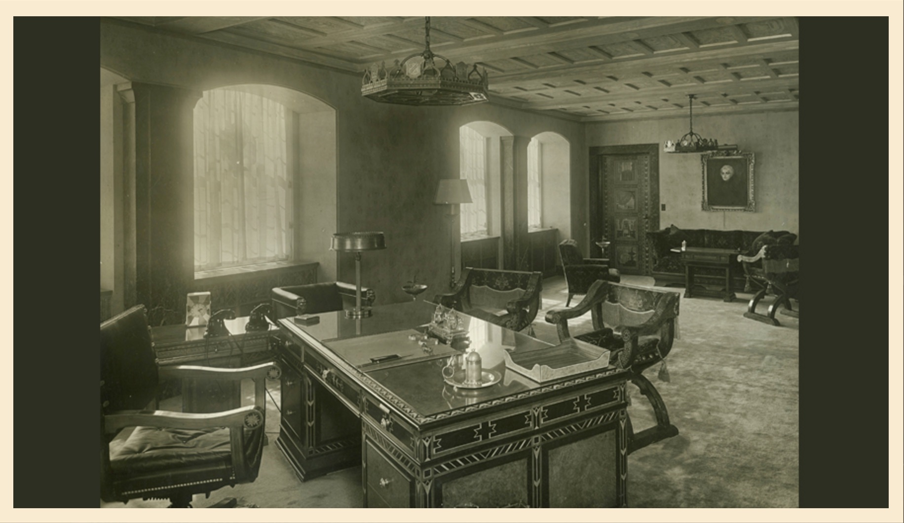 A view of Walter P. Chrysler's office in the Chrysler Building shows a combination of luxury and style but also attention to detail in every element of the office design.