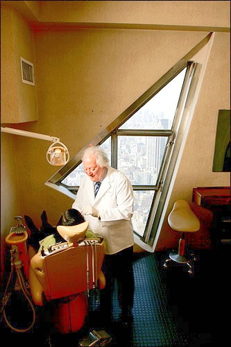 Dr. Charles M. Weiss, The Dentist In The Sky working in his Tower Dental Suite in 2010.