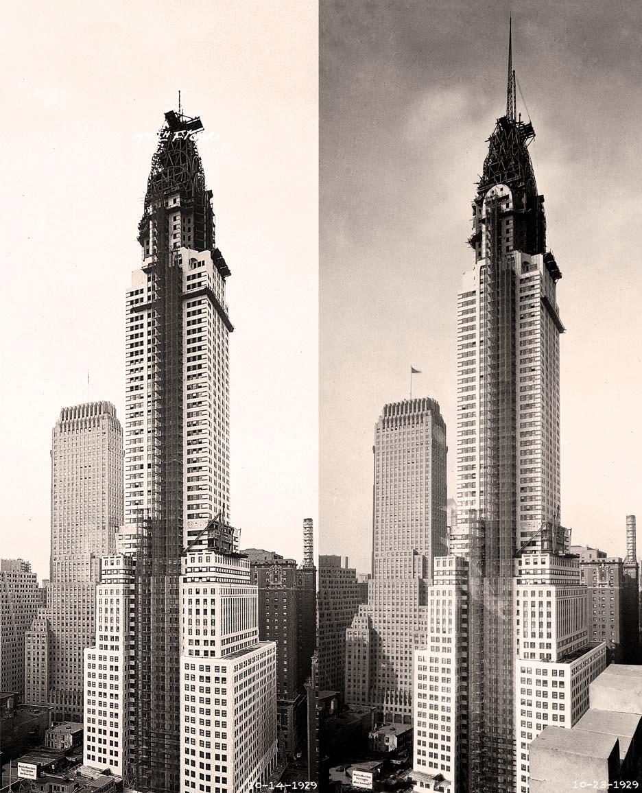 Left: Chrysler Building, October 14, 1929, Courtesy of David Stravitz;  Right: Chrysler Building, October 23, 1929, Courtesy of David Stravitz