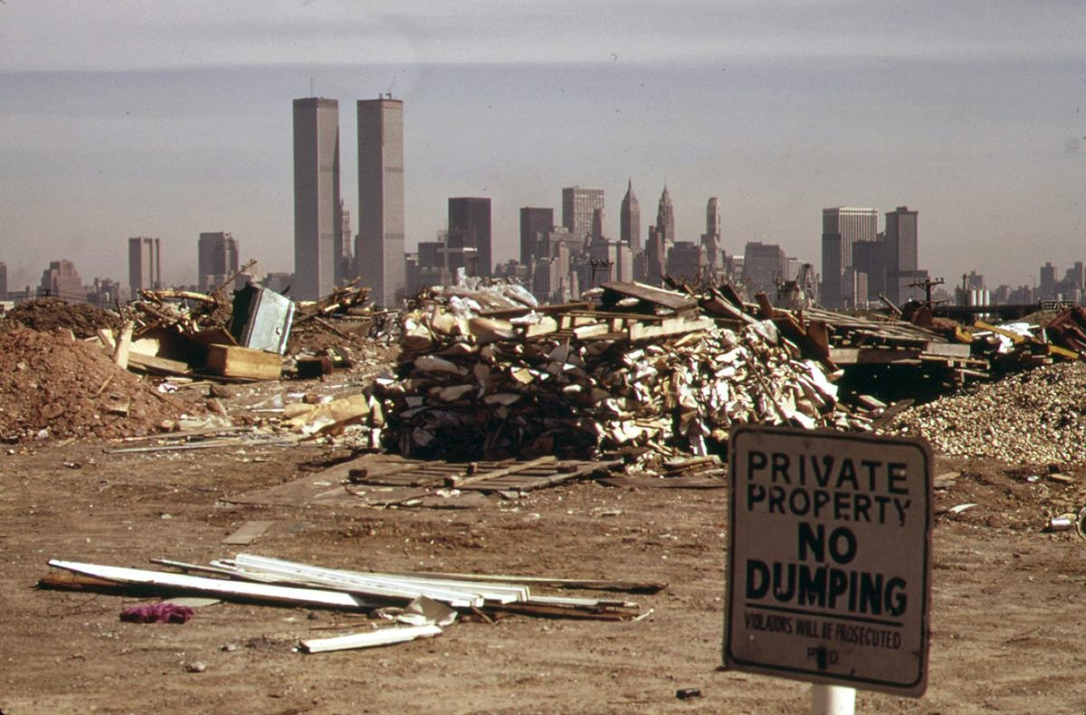 Despite warning signs, illegal dumping continues in this area just off the New Jersey Turnpike facing Manhattan in March of 1973. Photo: Gary Miller/NARA. See this same spot, now a park, on    Google Street View .