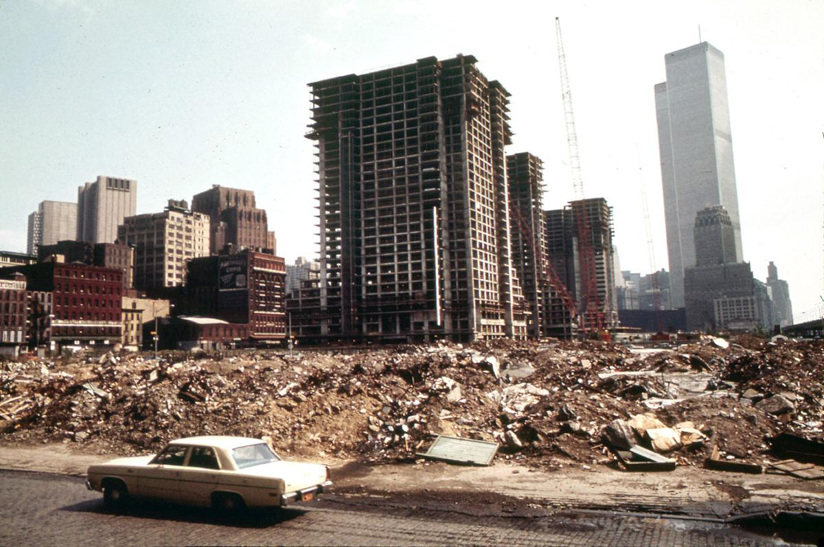 Construction on Lower Manhattan's West Side, just north of the World Trade Center, in May of 1973. Photo: Will Blanche/NARA. See the same spot, now TriBeCa – an expensive area, on  Google Street View .