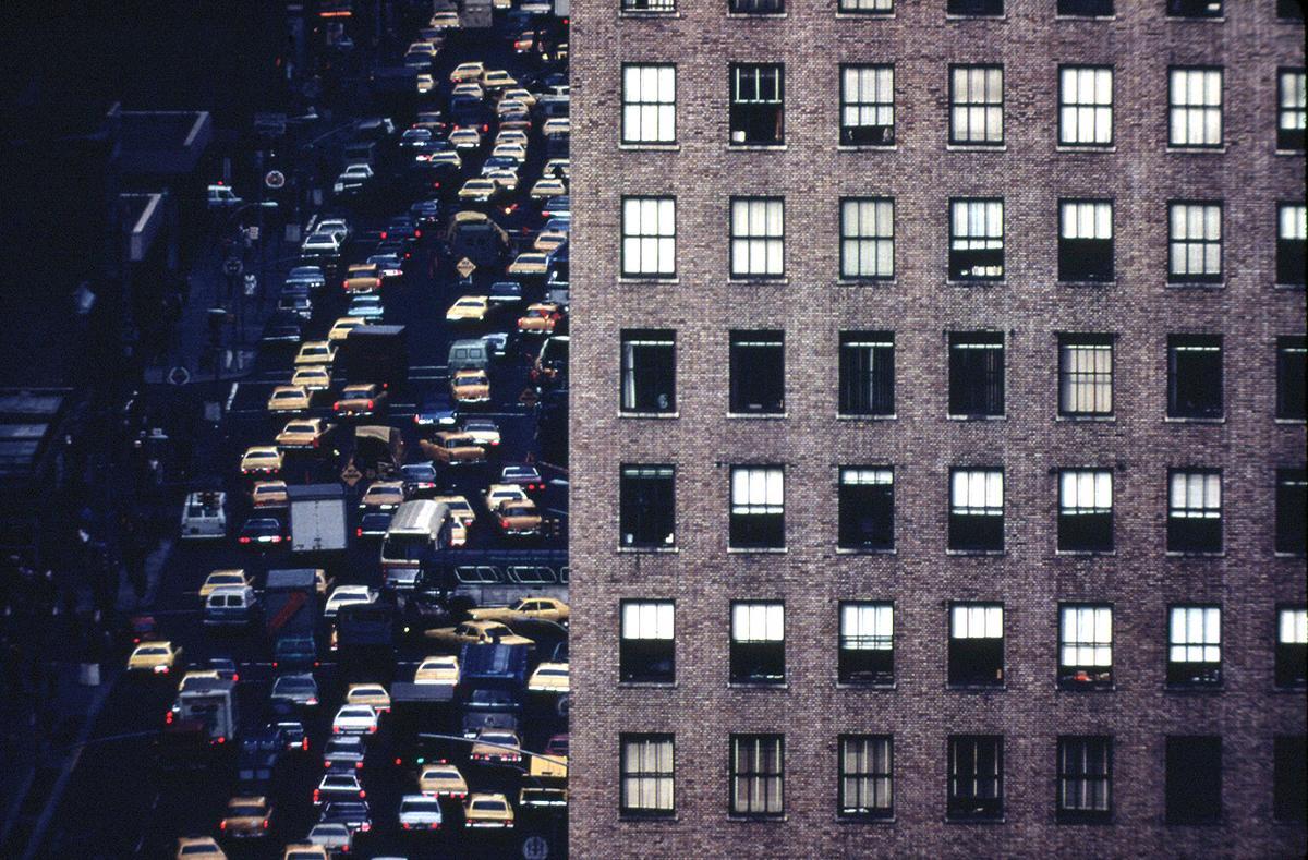 Idled traffic heading north on Sixth Avenue (Avenue of the Americas) near 42nd street, April 1973. Photo: Dan McCoy/NARA