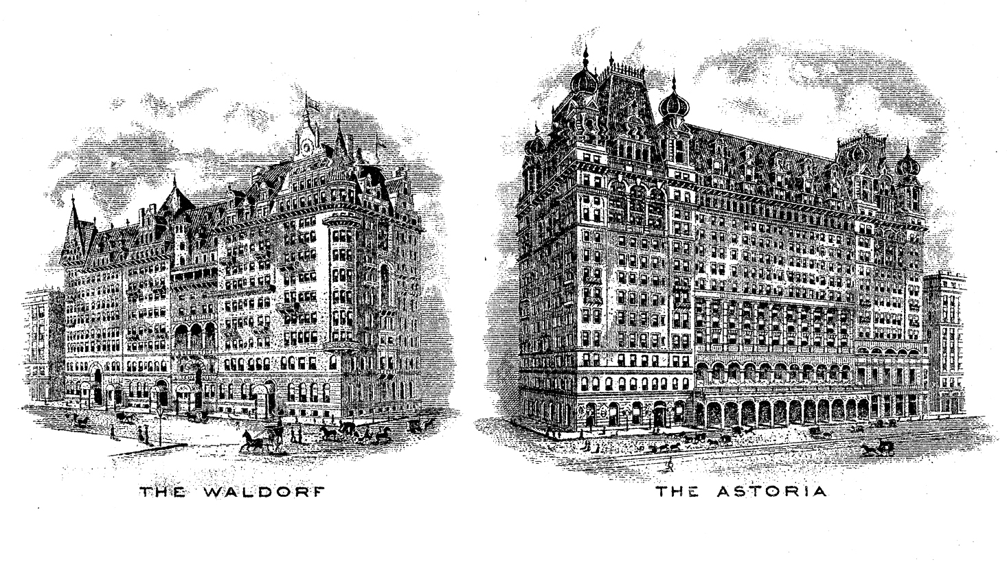 Engraved vignettes of the original hotels (1915)