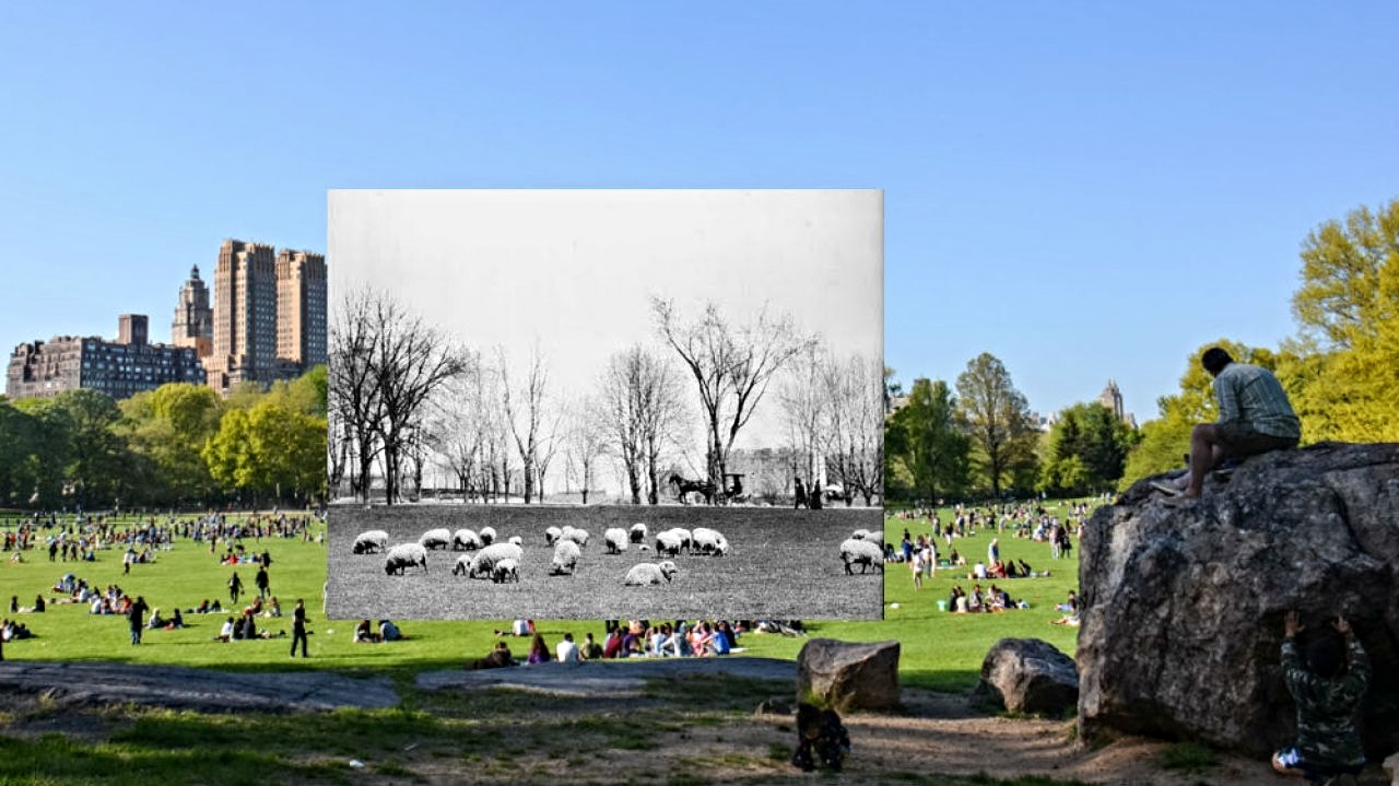 Sheep's Meadow today, and from 1864 to 1934 (Image: Wikipedia)