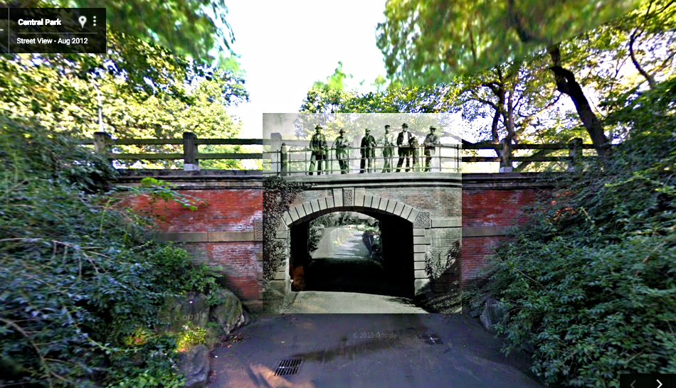 "Central Park creators ""standing"" at the same spot they were protographed in 1862, and one-hundred and fifty years later on this juxtaposed image by Google Street View in 2012."
